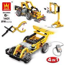 Wange 4 em 1 blocos de máquinas de energia eletrônica diy criativo blocos de corrida brinquedos do carro bloco de construção educacional brinquedos para crianças