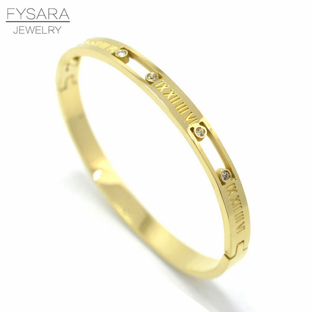 b98cff349dc FYSARA Luxury Brand Roman Letter Bracelets & Bangles For Women Austrian  Crystal Pulseira Fashion Jewelry Gold Color Bracelet