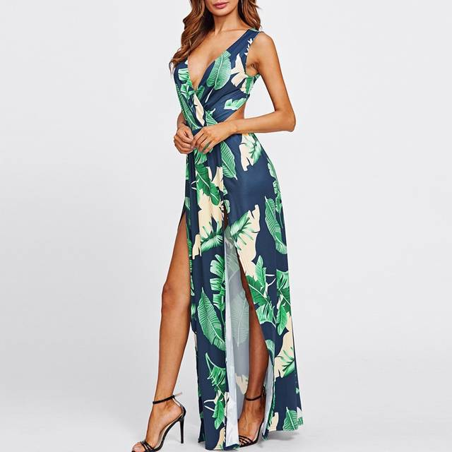 7b8fe3d49ec placeholder Floral Print Maxi Dress 2018 Summer Women V-neck Tropical Print  Split Sleeveless Long Dresses