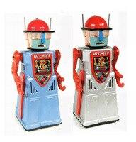 Retro Collection Tin toys mkd3 Children Metal Wind up Models Robot Handmade Iron Mechanical Electric Dress Smoke Robort