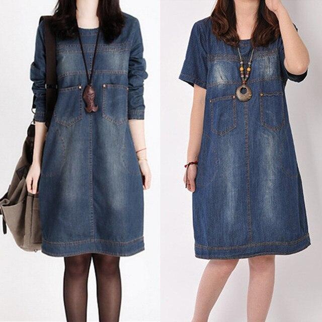 0f248d3f6 Women Autumn Winter Dress Plus Size Long-Sleeve Maxi Party Denim Dress  Vintage Casual Jeans Dress Vestidos Denim Dresses C2353