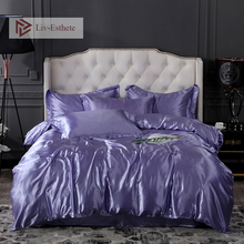 Liv-Esthete Luxury Lilac Silk Bedding Set Soft Silky Duvet Cover Flat Sheet Pillowcase Double Queen King Adult Bed Set Wholesale
