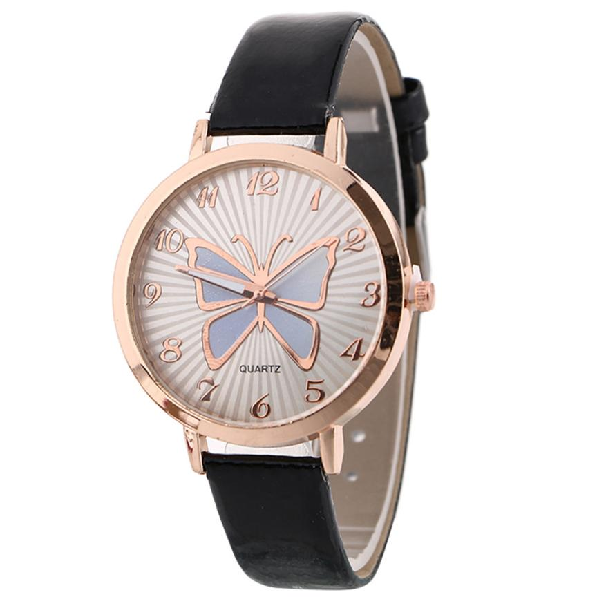 Watches Women 2018 Fashion Leather Strap Butterfly Female Clock Ladies Quartz Wrist Watch Montre Femme Gift Relogio Feminino #C kevin vintage paris eiffel tower dial wrist watch women ladies girl quartz watches gift for girlfriend black strap clock hot