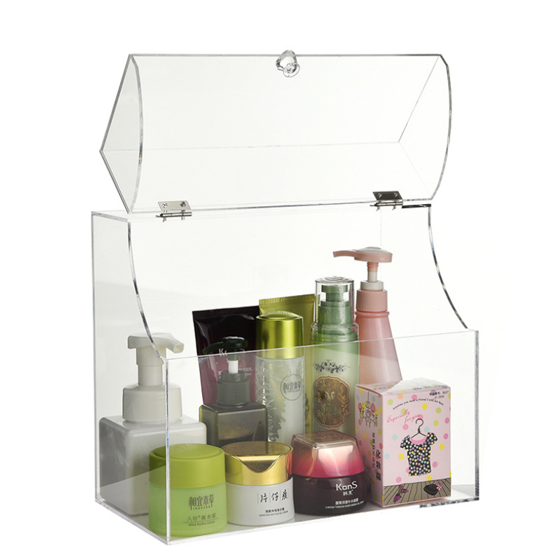 Clear Acrylic Makeup Organizer Storage Box With Cover large Desk Organizer Bread Storage Case Cosmetic Jewelry