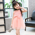 2016 Verão Vestidos de Princesa Menina Vestido de Renda de Algodão Crianças Big Bow Bead Crianças Vestido de Festa Roupas roupas infantis de menina 38365