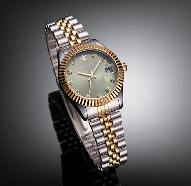 f3f41e54ad1 Top Marca TORBOLLO Golden Green Dial Amante Relógio de Quartzo Data Relógio  Vestido de Cristal À