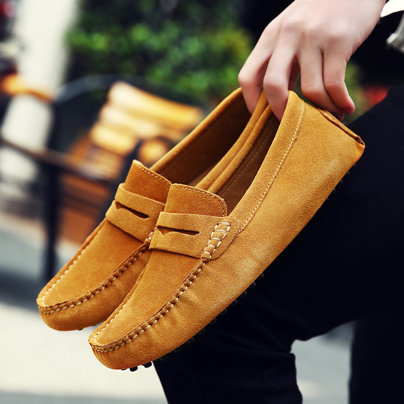 Men Casual Suede Leather Loafers Black Solid Leather Driving Moccasins Gommino Slip On Men Loafers Shoes Male Loafers Big Size цены онлайн