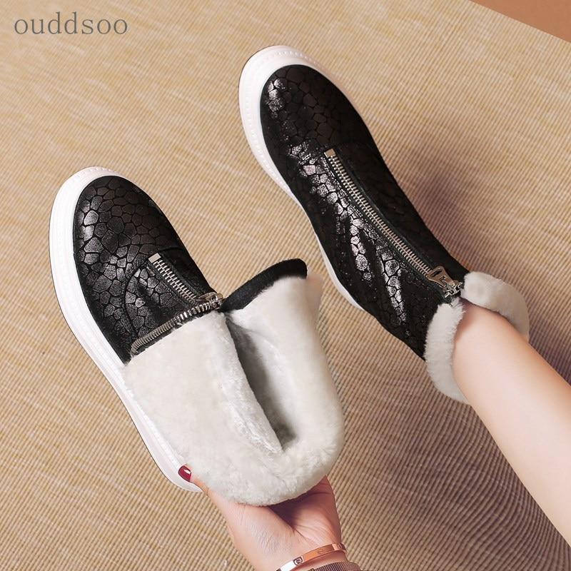 de751996 Planas Mujer Nieve Mujer Invierno Tacos Para Oveja Negro Impermeables Piel  Zapatos Hechos Felpa Mano A Botas ...
