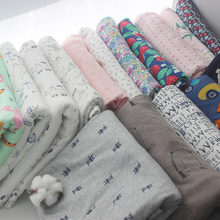 bf526b4a2fb Stretchy Printed cartoon cotton knitting fabric by half meter DIY sewing  uphostery baby clothing cotton fabric