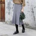 Yichaoyiliang 2017 Spring New Grey Knitting Midi Skirt for Women High Waist Pleated Skirt Long Korean Style Black Skirt
