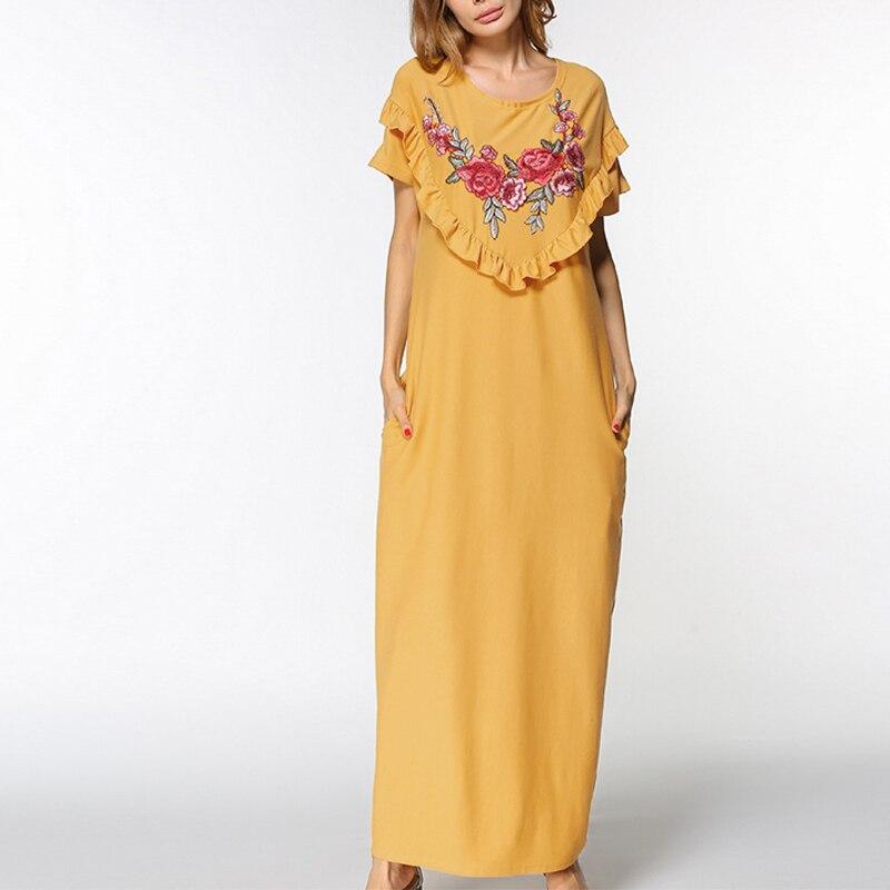 Женское повседневное свободное платье большого размера с вышивкой розы, большие размеры, летнее праздничное платье, элегантный большой раз...