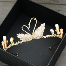 Vintage Gold Crystal Tiaras Crowns Swan Rhinestone Women Hair Jewelry For Wedding Bridal Diadems Accessories Pageants M30