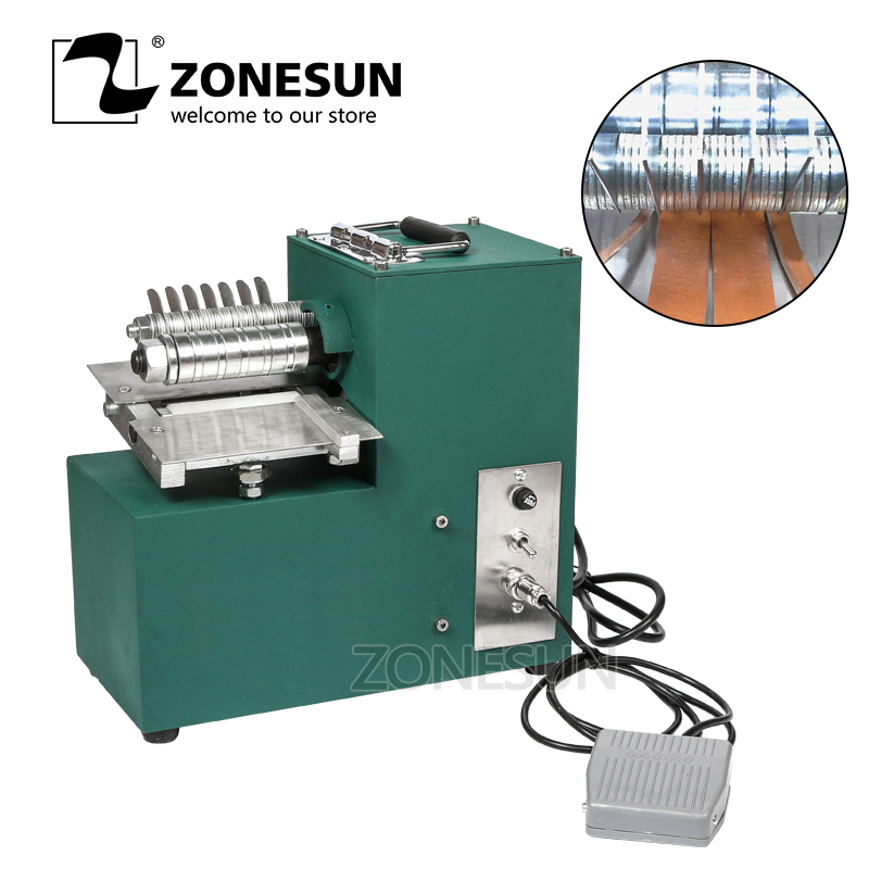 ZONESUN leather strap cutting machine slitting shoe bags straight paper cutter Vegetable tanned leather slicer tailor scissors applicatori di etichette manuali