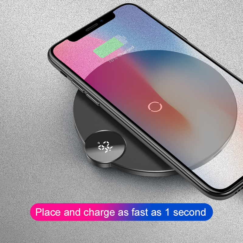 Baseus LED Digital Display Wireless Charger for iPhone XS Max XR X 8 Qi Stable Wireless Charging Pad for Samsung Galaxy S8 S9Baseus LED Digital Display Wireless Charger for iPhone XS Max XR X 8 Qi Stable Wireless Charging Pad for Samsung Galaxy S8 S9