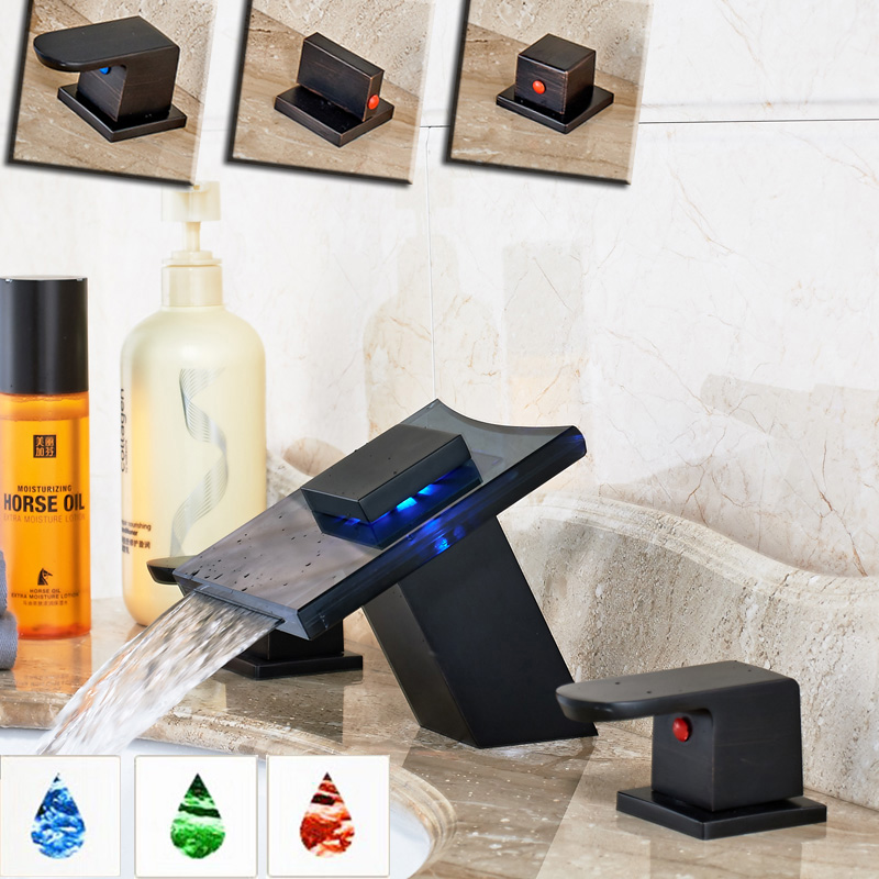 Oil Rubbed Bronze Glass Waterfall Spout Basin Faucet Led Color Changing Bathroom Sink Mixer Water Taps Dual Handles