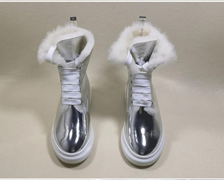 Zapatos Invierno Punta Nieve Las As as Cálida Encaje Marca Botines Botas De Mujeres Pic Mujer Redonda Pic Cuero Plataforma Cortos Tobillo xnzqw16Yz