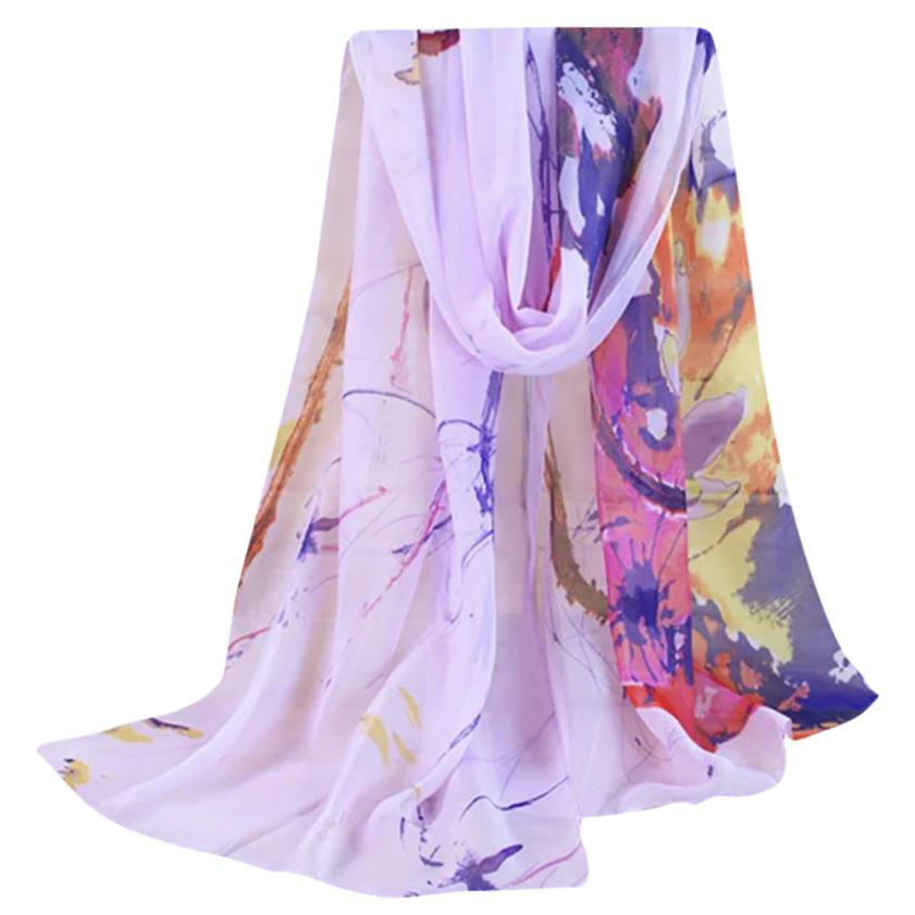 1acd62248b919 Fashion Lady Women Floral Prints Shawl Chiffon Scarf Swimsuit Foulard femme  hijab Beach pareo capes Bufandas mujer stoles Cloak-in Women s Scarves from  ...