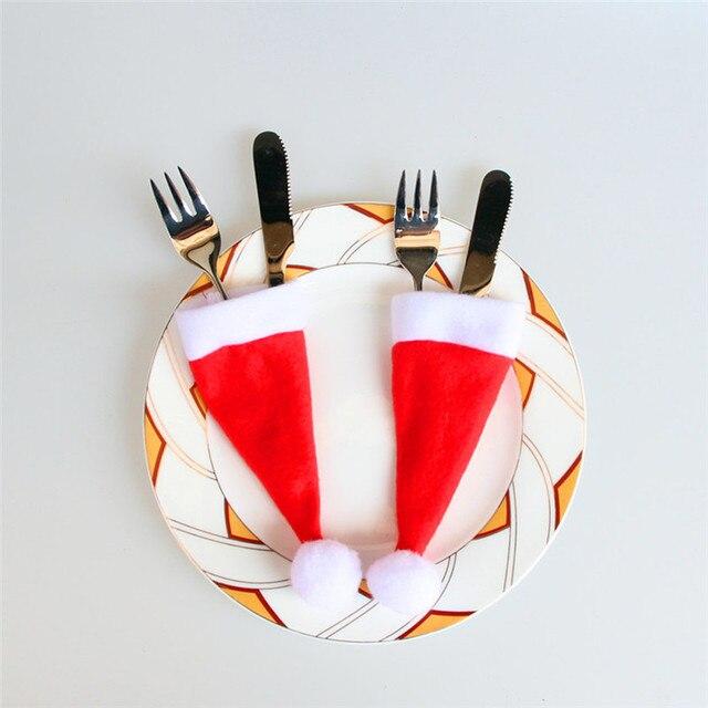 1 Pcs Rosso Cappello di Babbo Natale Di Natale Borse Forcella Da Tavola Argenter