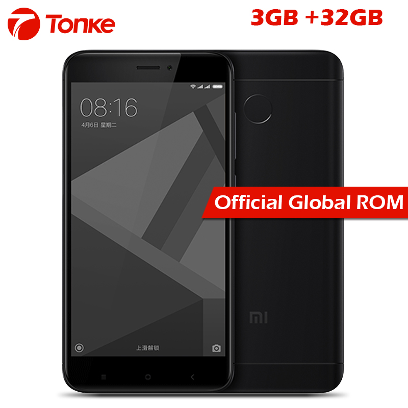Official Global Rom Xiaomi Redmi 4X 4 X 3GB RAM 32GB ROM Mobile Phone Snapdragon 435 Octa Core 5.0 4100mAh 13.0MP