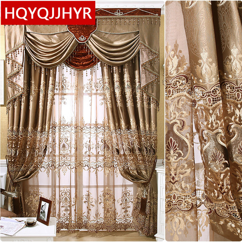 European Luxury High-precision Three-dimensional Embroidered Curtains For The Living Room Window Curtain Bedroom Luxury Drapes
