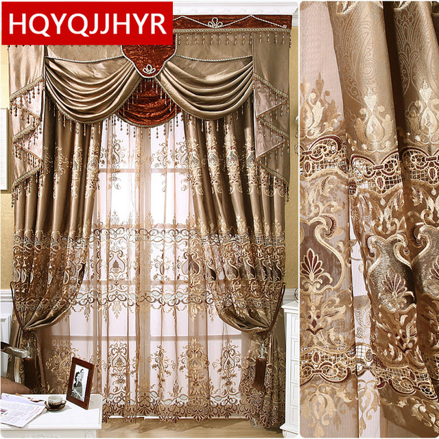 European Luxury High Precision Three Dimensional Embroidered Curtains For  The Living Room Window Curtain