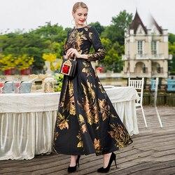 S ~ 4XL Maxi Dubai Moslim Abaya Jurk Voor Vrouwen Lange Mouw Nieuwe Herfst Winter Bloemen Jacquard Jurk Mode Kleding herfst Plus Size