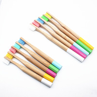 20pc Rainbow Bamboo Toothbrush Round Bamboo Handle Adult and Children Wooden Handle Low Carbon Toothbrush Eco Friendly