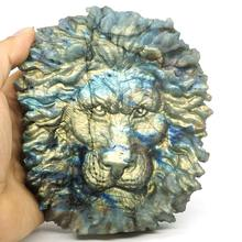 5.43 Lion Head Labradorite Figurine Carved Stone Animal Statue Healing Reiki Home Office Decor natural fluorspar and labradorite figurine stone necroma sculpture decorated statue wizard stones and crystals hand carved