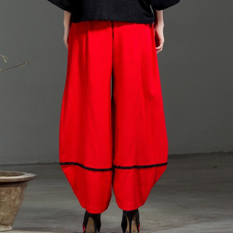 Black L Algodón Pantalones Bordado xl Flor Chino Bolsillos Ocasionales Rojo Señora Anchos Talla red Étnico Full F6xqBw