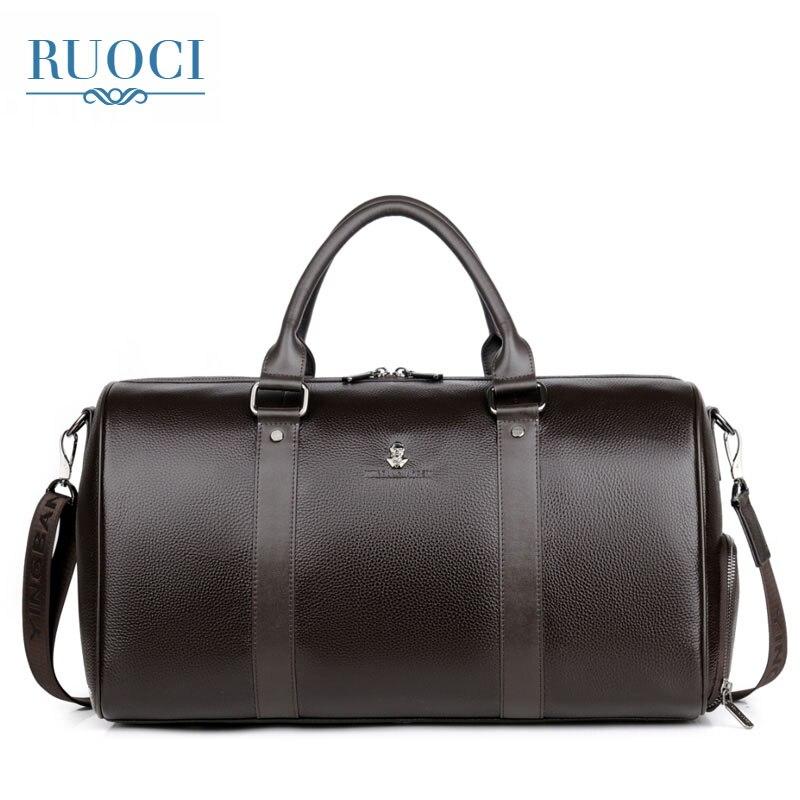 цена на RUOCI Brand Genuine Leather Men Travel Bag Vintage Real Leather Business Hand Bag Large Duffle Bags Men's Handbag Shoulder Bags