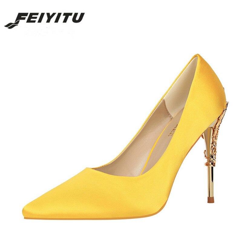 feiyitu Women High Heels Pumps Fashion Yellow Red Thin Heels Pointed Toe Female Shoes Silk Satin Wedding Prom Party Classic
