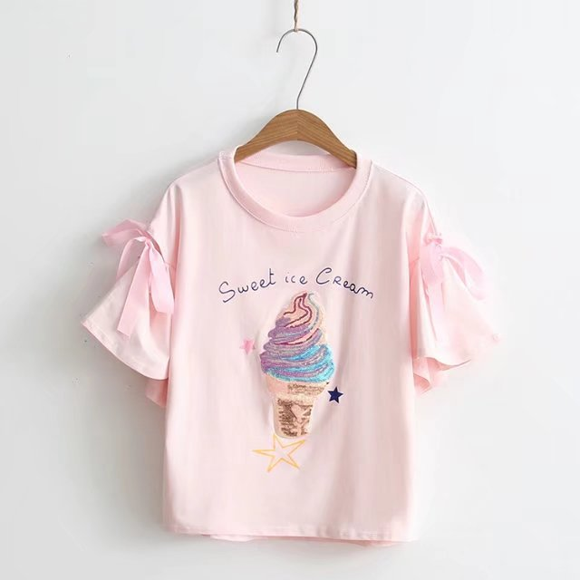 aa9a04ee2 Casual Fashion Summer Women Pink T-shirt Lace Bow With Hole Cute Ice Cream  Sequined