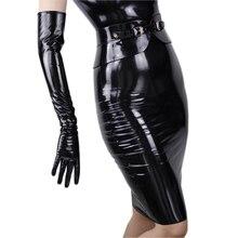 黒のパテント革ロング革手袋 60 センチメートルロング肘高品質 PU 革のない裏地 TB09
