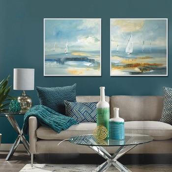 Moderne Abstrakte Landschaft Malerei Leinwand Druck Wand Kunst Hause  Wohnzimmer Dekoration Impressionist Ozean Segeln Malerei Blau
