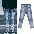 2016 улица НОВАЯ мода уничтожено узкие джинсы отверстие повседневные брюки лодыжки прохладные зеленые мужские джинсы jogger повреждения рок хип-хоп джинсы