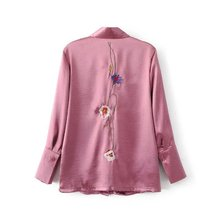 2017 Spring big size long sleeve flower embroidery satin shirts women office work satin blouses women casual pink satin tops