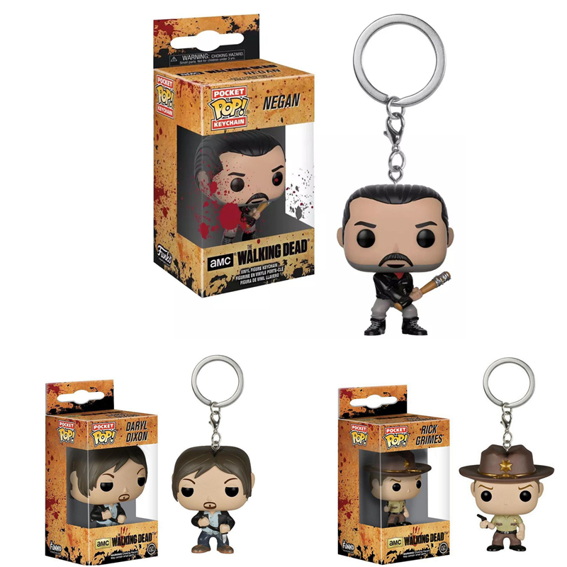 FUNKO POP New Arrival Pocket Pop Keychain Official The Walking Dead Characters Action Figure Collectible Model Christmas Toys