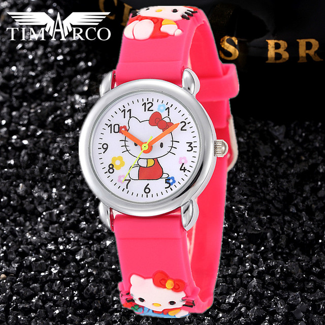 Cute Cartoon Baby Clocks Pupil Watches Hello kitty Mouse Dress Saats Silicone 3D