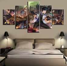 Sword Art Online Anime A group photo Print Picture Poster 5 Pieces Painting On Canvas Room Decoration For Home Decor