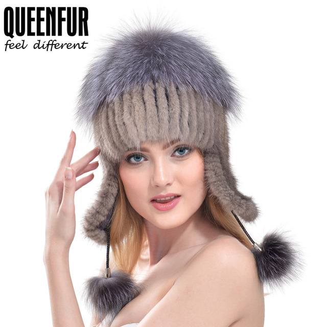 QUEENFUR Real Mink Fur Cap With Fur Pom Poms Knitted Bomber Hat 2016 Winter Ear Protector Caps Women Fashion Natura Fur Hat