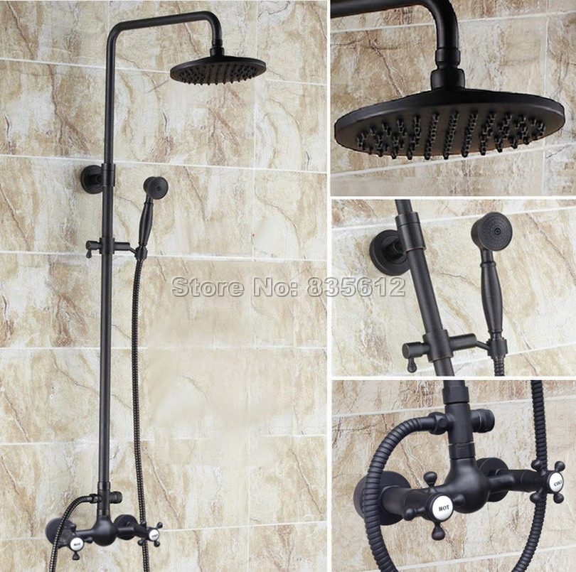 wall mounted black oil rubbed bronze rain shower faucet set