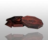 Woodcarving ملء ثمانية الجانبين الحلوى مربع ريدوود الرئيسية مطبخ التخزين حالة روزوود pez موزع الصينية النمط الكلاسيكي لوحات
