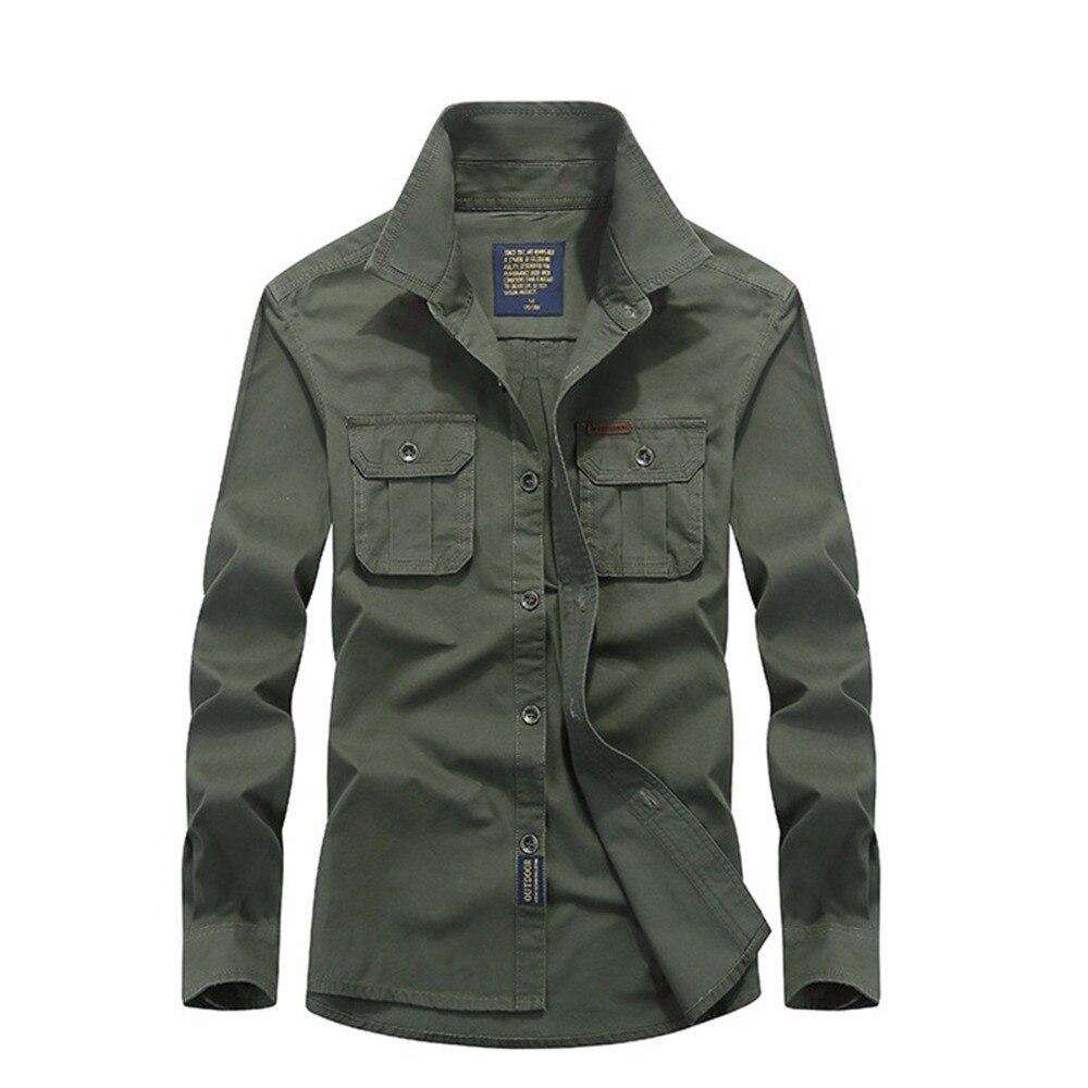 slim tamaño gran algodón larga de hombres fit de hombres de Camisa ejército china militar Camiseta importado barato hombre manga caqui verde Casual qR1ZEUn