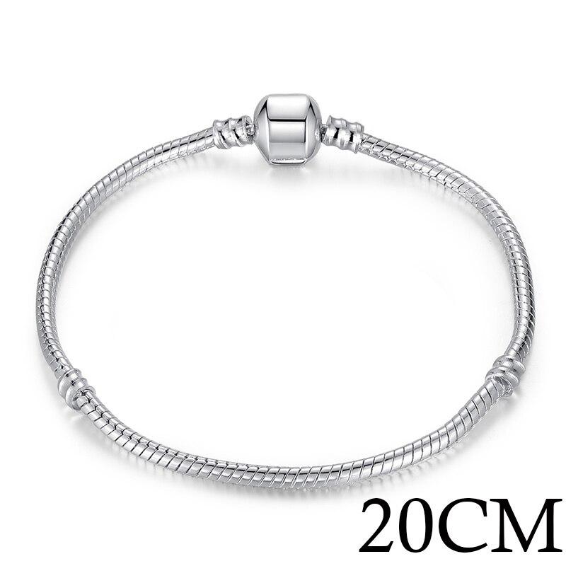 5 стиль 925 серебряных любовь цепи змейки и браслет 16 см- 21 см браслеты омар PA1104 - Окраска металла: 20cm Length
