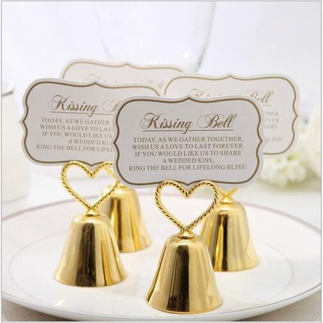 Silver Heart Bell Place Card Holder Wedding Favors With Matching Card For Table  Card Holders Christmas