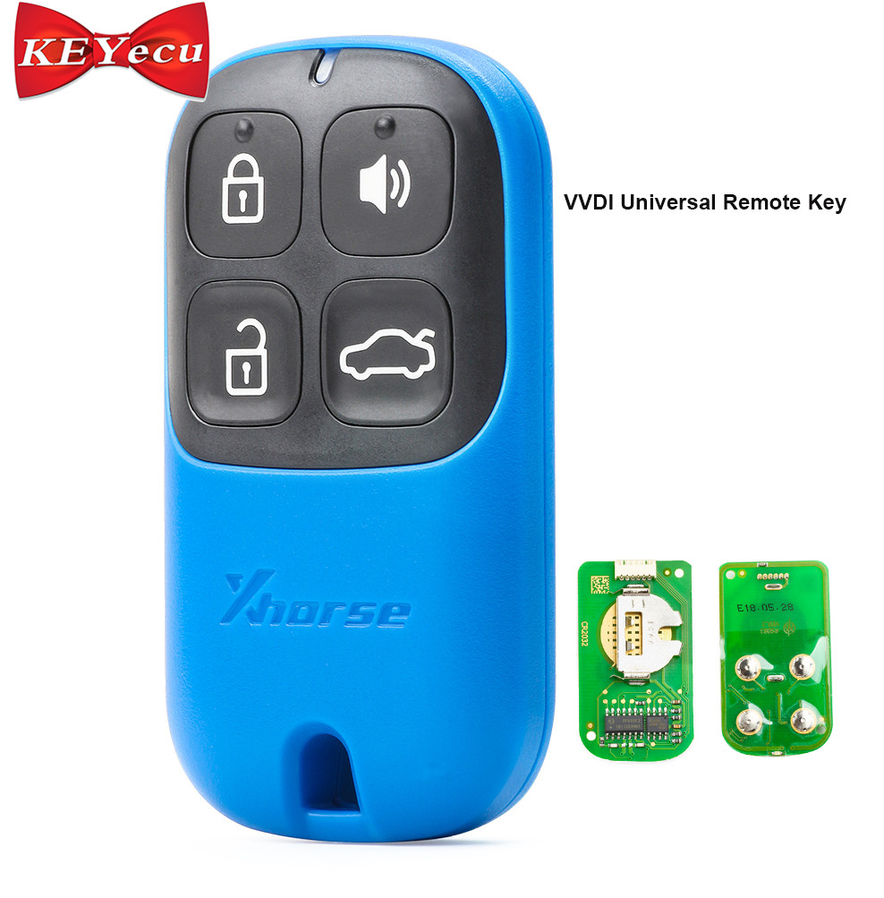 Keyecu 5PCS XHORSE Multicolor Universal Remote Key Fob 4 Button for VVDI Key Tool VVDI2 English