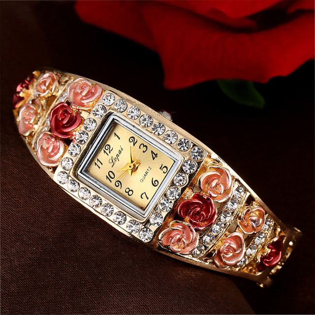 LVPAI Vintage Women Bangle Bracelet Watches Rose Flower Rhinestone Analog Quartz