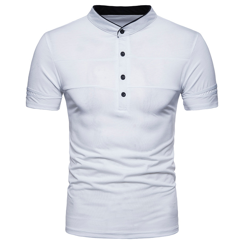 Men's Spring And Summer Cotton Polo-Shirt Slim Fit Solid Henry Collar Men Tops Two colour White And Black