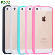 PZOZ ipone 5 Case Original For iphone 5SE Case Luxury Silicone Frame Transparent Hard Back Cover Slim Protection Shell ihone 5s