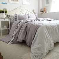 Grey luxury bedding set Embroidery lace duvet cover satin cotton bedding handsome bedspread bed sheet princess bed cover skirt